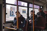 Election poster of Mihai Ghimpu, chairman of Liberal Party, in a public transport. Chisinau, Republic of Moldova.  / Präsidentenwahl in der Republik Moldau am 30.10.2016 in Chisinau