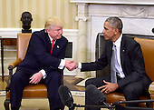 United States President Barack Obama and US President-elect Donald Trump shake hands after meeting in the Oval Office of the White House in Washington, DC on November 10, 2016.<br /> Credit: Ron Sachs / CNP<br /> (RESTRICTION: NO New York or New Jersey Newspapers or newspapers within a 75 mile radius of New York City)