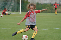 20200820 - TUBIZE , Belgium : Alix Bosteels pictured during the warm up before a friendly match between Belgian national women's youth soccer team called the Red Flames U17 and Union Saint-Ghislain Tetre , on the 20th of August 2020 in Tubize.  PHOTO: Sportpix.be | SEVIL OKTEM