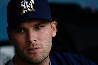 Ben Sheets of the Milwaukee Brewers during batting practice before a game from the 2007 season at Dodger Stadium in Los Angeles, California. (Larry Goren/Four Seam Images)