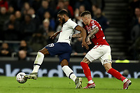 14th January 2020; Tottenham Hotspur Stadium, London, England; English FA Cup Football, Tottenham Hotspur versus Middlesbrough; Japhet Tanganga of Tottenham Hotspur is under pressure from Marvin Johnso of Middlesbrough - Strictly Editorial Use Only. No use with unauthorized audio, video, data, fixture lists, club/league logos or 'live' services. Online in-match use limited to 120 images, no video emulation. No use in betting, games or single club/league/player publications