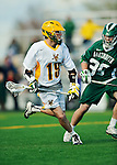 24 April 2012: University of Vermont Catamount Midfielder Cal Case, a Senior from Columbus, Ohio, in action against the Dartmouth College Big Green at Virtue Field in Burlington, Vermont. The Catamounts fell to the visiting Big Green 10-5 in Men's Varsity Lacrosse action. Mandatory Credit: Ed Wolfstein Photo