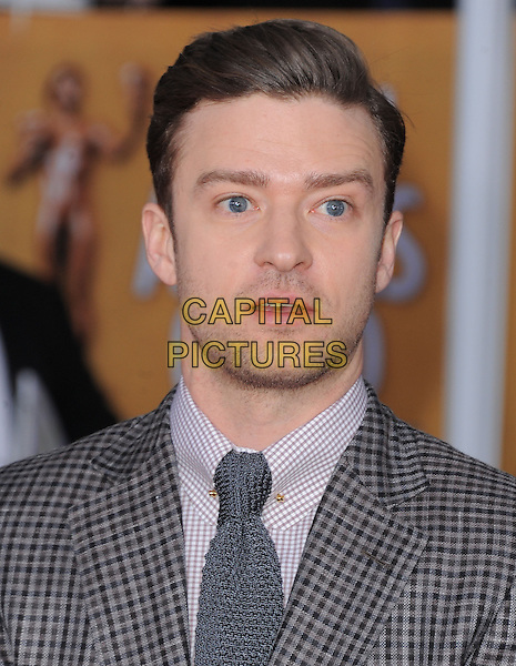 Justin Timberlake.Arrivals at the 19th Annual Screen Actors Guild Awards at the Shrine Auditorium in Los Angeles, California, USA..27th January 2013.SAG SAGs headshot portrait grey gray white shirt tie check stubble facial hair .CAP/DVS.©DVS/Capital Pictures.