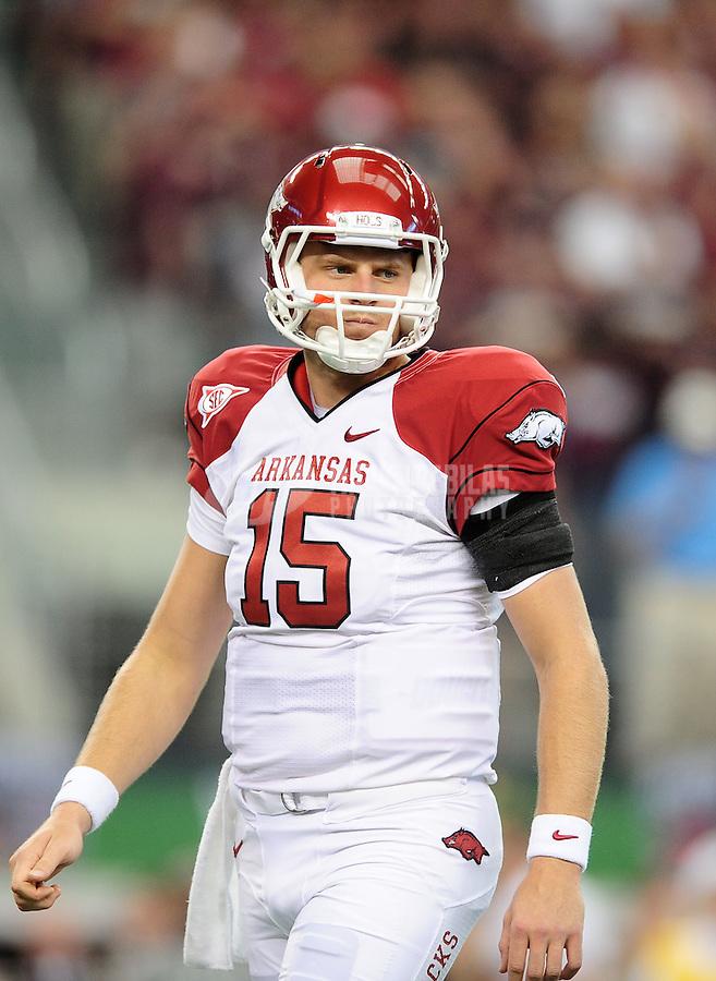 Oct. 9, 2010; Arlington, TX, USA; Arkansas Razorbacks quarterback (15) Ryan Mallett against the Texas A&M Aggies at Cowboys Stadium. Arkansas defeated Texas A&M 24-17. Mandatory Credit: Mark J. Rebilas-