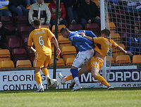 Shaun Hutchinson fouls Marcus Haber in the penalty box in the Motherwell v St Johnstone Clydesdale Bank Scottish Premier League match played at Fir Park, Motherwell on 28.4.12.