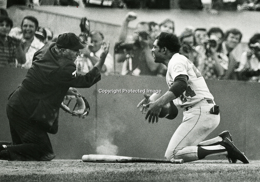 Willie Mays argues with home plate umpire Augie Donatelli  during the 1973 World Series. (copyright 1973 Ron Riesterer)