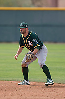 Oakland Athletics second baseman Nate Mondou (8) during a Minor League Spring Training game against the Chicago Cubs at Sloan Park on March 13, 2018 in Mesa, Arizona. (Zachary Lucy/Four Seam Images)