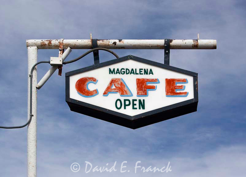 Magdalena Cafe sign in Magdalena, New Mexico.