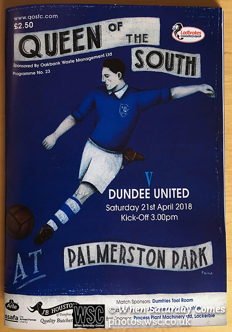 Match programme from Palmerston Park, Dumfries as Queen of the South (in blue) hosted Dundee United in a Scottish Championship fixture. The home has played at the same ground since its formation in 1919. Queens won the match 3-0 watched by a crowd of 1,531 spectators.