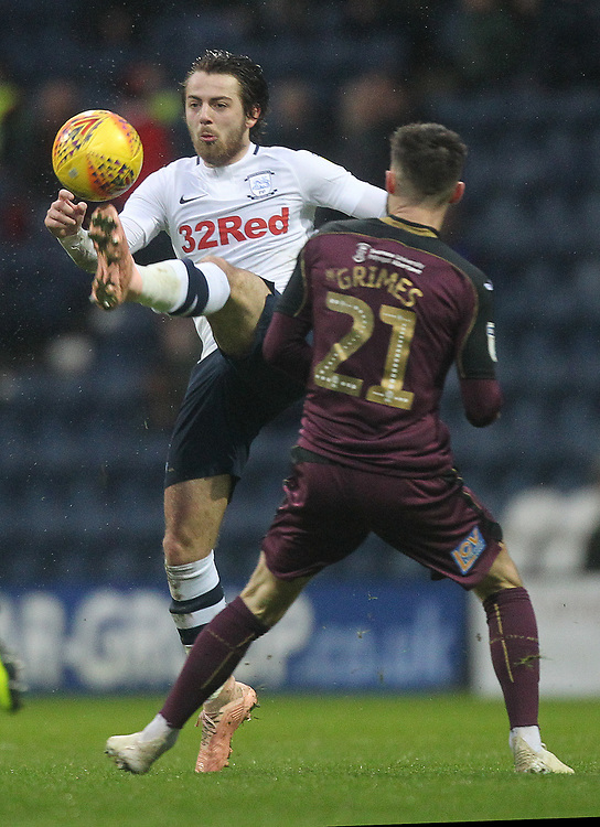 Preston North End's Ben Pearson battles with  Swansea City's Jose Alberto Canas<br /> <br /> Photographer Mick Walker/CameraSport<br /> <br /> The EFL Sky Bet Championship - Preston North End v Swansea City - Saturday 12th January 2019 - Deepdale Stadium - Preston<br /> <br /> World Copyright &copy; 2019 CameraSport. All rights reserved. 43 Linden Ave. Countesthorpe. Leicester. England. LE8 5PG - Tel: +44 (0) 116 277 4147 - admin@camerasport.com - www.camerasport.com