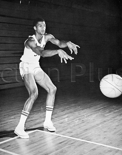 "Born Fredrick Ferdinand Lewis Alcindor Jr , 16 April 1947 changed his name to Kareem Abdul-Jabbar in 1971 several years after his convertion to Islam . Seen here 7 ' 1 1/2 "" tall who as centre for the UCLA Bruins led his team to two consecutive NCAA championships"