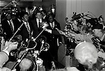 Ronald Wilson Reagan speaks to the gathered press as he and others including African American leaders, leave the  Waldorf-Astoria Hotel in New York City, during his 1980 campaign for President.