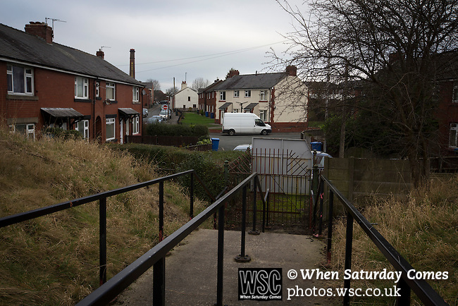 Chorley 2 Altrincham 0, 21/01/2017. Victory Park, National League North. A view to an exit at Victory Park, before Chorley played Altrincham in a Vanarama National League North fixture. Chorley were founded in 1883 and moved into their present ground in 1920. The match was won by the home team by 2-0, watched by an above-average attendance of 1127. Photo by Colin McPherson.