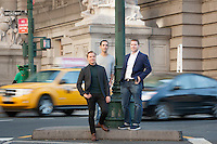 HSTA 20151015 USA, New York CIty. 3 employees of Gemic. Johannes Suikkanen (green turtle neck, L), Kevin Elliott (blue blazer, R) and Alex Jinich (grey tshirt, R). Photographer: David Brabyn