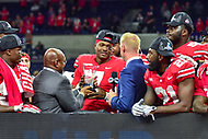 Indianapolis, IN - DEC 1, 2018: Ohio State Buckeyes quarterback Dwayne Haskins (7) wins the most valuable player award after defeating the Northwestern Wildcats 45-24 in the Big Ten Championship game at Lucas Oil Stadium in Indianapolis, IN. (Photo by Phillip Peters/Media Images International)