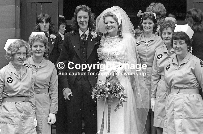 The off-duty nurse, Hilary Ferguson, who rendered emergency medical aid to Jimmy Stewart, Belfast, N Ireland, who lost both legs in the Abercorn Restaurant bombing on 4th March 1972, pictured after her wedding also on 5th October 1974. Two young women died and 130 were injured in the Provisional IRA bombing. A 999 telephone warning was given only two minutes before the blast.  Coincidentally she got married on the same day, 5th October 1974, as Jimmy and even found time on her big day to meet him and wish him &amp; his bride every happiness.  See separate picture. 97410050527b<br />