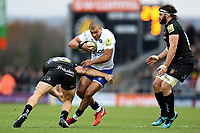 Jonathan Joseph of Bath Rugby is tackled in possession. Aviva Premiership match, between Exeter Chiefs and Bath Rugby on December 2, 2017 at Sandy Park in Exeter, England. Photo by: Patrick Khachfe / Onside Images