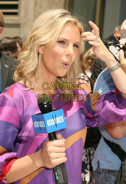 ELIZABETH HASSELBACK .Barbara Walters Star Ceremony on the Hollywood Walk of Fame, Hollywood, California, USA..June 14th, 2007.half length hand dress print purple microphone .CAP/ADM/RE.©Russ Elliot/AdMedia/Capital Pictures