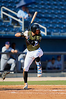 Biloxi Shuckers first baseman Jake Gatewood (3) at bat during a game against the Jacksonville Jumbo Shrimp on May 6, 2018 at MGM Park in Biloxi, Mississippi.  Biloxi defeated Jacksonville 6-5.  (Mike Janes/Four Seam Images)