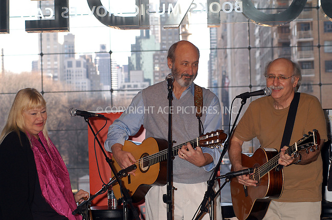 60s folk band 'Peter, Paul & Mary' making an appearance at Borders Bookstore to promote their CD. New York, March 3, 2004. Please byline: AJ SOKALNER/ACE Pictures.   ..*PAY-PER-USE*      ....IMPORTANT: Please note that our old trade name, NEW YORK PHOTO PRESS (NYPP), is replaced by new name, ACE PICTURES. New York Photo Press and ACE Pictures are owned by All Celebrity Entertainment, Inc.......All Celebrity Entertainment, Inc:  ..contact: Alecsey Boldeskul (646) 267-6913 ..Philip Vaughan (646) 769-0430..e-mail: info@nyphotopress.com