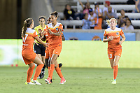 Houston, TX - Saturday June 17, 2017: Andressa congratulates Poliana on her goal during a regular season National Women's Soccer League (NWSL) match between the Houston Dash and the Orlando Pride at BBVA Compass Stadium.