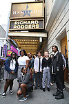 """Student performers arrive before The Rockefeller Foundation and The Gilder Lehrman Institute of American History sponsored High School student #EduHam matinee performance of """"Hamilton"""" at the Richard Rodgers Theatre on October 25, 2017 in New York City."""