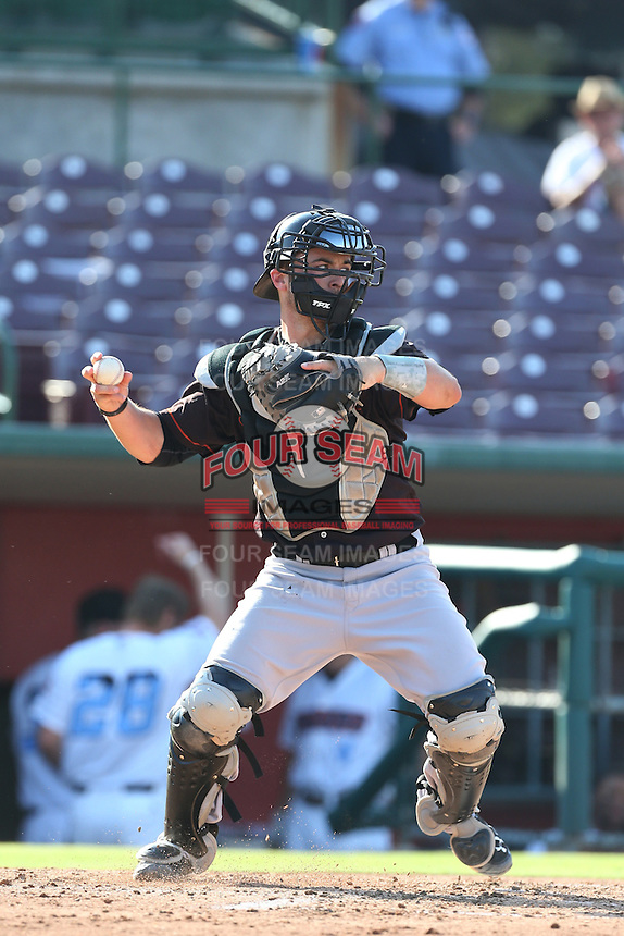 Joe Hudson #4 of the Bakersfield Blaze during a game against the Inland Empire 66ers at San Manuel Stadium on August 21, 2014 in San Bernardino, California. Inland Empire defeated Bakersfield, 3-1. (Larry Goren/Four Seam Images)