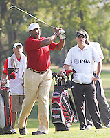 25 SEP 12  Former Super Bowl MVP Richard Dent hits his approach to 7  during Tuesdays Celebrity Scramble at The 39th Ryder Cup at The Medinah Country Club in Medinah, Illinois.