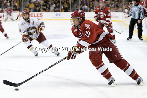 Alex Killorn (Harvard - 19) - The Boston College Eagles defeated the Harvard University Crimson 6-0 on Monday, February 1, 2010, in the first round of the 2010 Beanpot at the TD Garden in Boston, Massachusetts.
