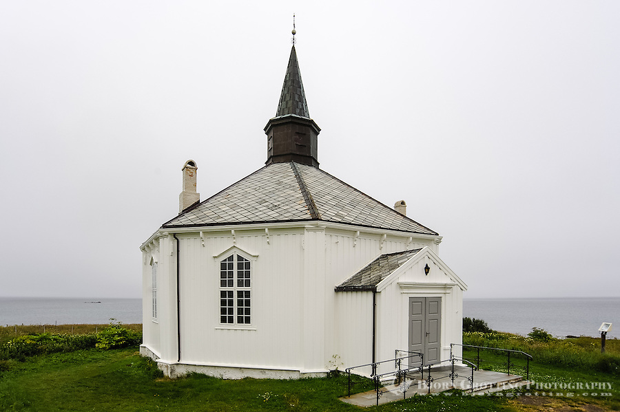 Norway, Vesteraalen. Dverberg church is located at Dverberg on Andøya. The church is an octagonal timber building from 1843.