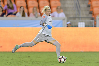 Houston, TX - Wednesday June 28, 2017: Houston Dash Goalkeeper, Jane Campbell clears the ball from her goal  during a regular season National Women's Soccer League (NWSL) match between the Houston Dash and the Boston Breakers at BBVA Compass Stadium.