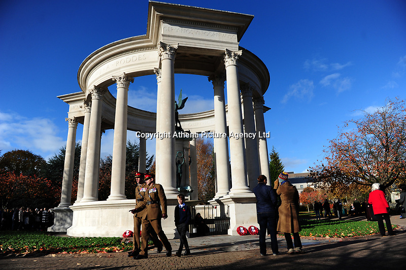 Pictured: Members of the Armed Forces, war veterans, dignitaries and locals attend the Remebrance Day service at the Wales National War Memorial, in Cathays Park, Cardiff, Wales, UK. Sunday 11 November 2018<br /> Re: Commemoration for the 100 years since the end of the First World War on Remembrance Day at the Wales National War Memorial, in Cathays Park, Cardiff, Wales, UK.