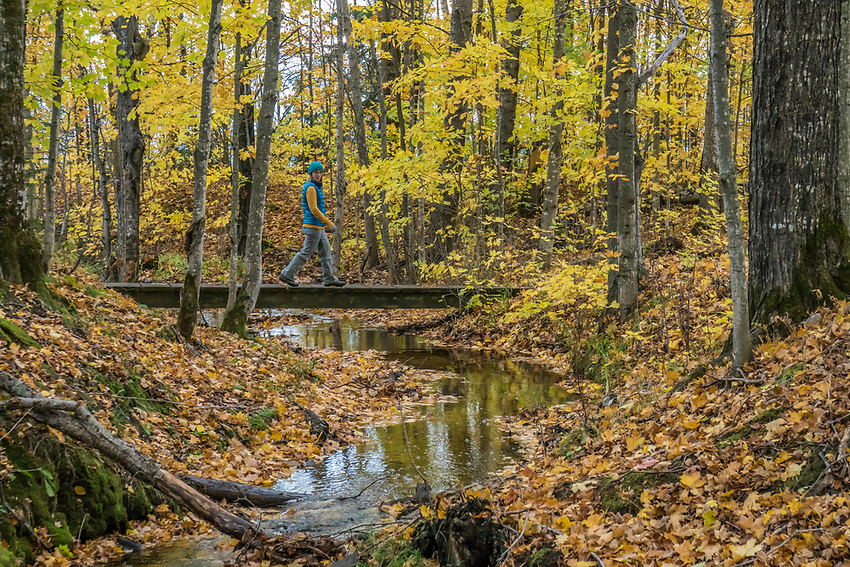 Fall hike at Pictured Rocks National Lakeshore near Munising, Michigan.