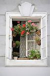 A window with a lot of flowers in Prague, Czech Republic.