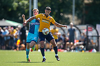 Nathan Smart of Slough Town holds off Dayle Southwell of Wycombe Wanderers during the pre season friendly match between Slough Town and Wycombe Wanderers at Arbour Park Stadium, Slough, England on 8 July 2017. Photo by Andy Rowland.
