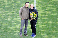 Piscataway, NJ - Sunday April 30, 2017: Dean Lin, Christie Pearce during a regular season National Women's Soccer League (NWSL) match between Sky Blue FC and FC Kansas City at Yurcak Field.