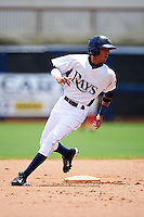 GCL Rays outfielder Jaime Ayende (1) running the bases during the second game of a doubleheader against the GCL Red Sox on August 4, 2015 at Charlotte Sports Park in Port Charlotte, Florida.  GCL Red Sox defeated the GCL Rays 2-1.  (Mike Janes/Four Seam Images)