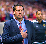 Real Salt Lake head coach Jeff Cassar and his team stand for the national anthem before the game Saturday, March 14, 2015, during the Major League Soccer game at Rio Tiinto Stadium in Sandy, Utah. (© 2015 Douglas C. Pizac)