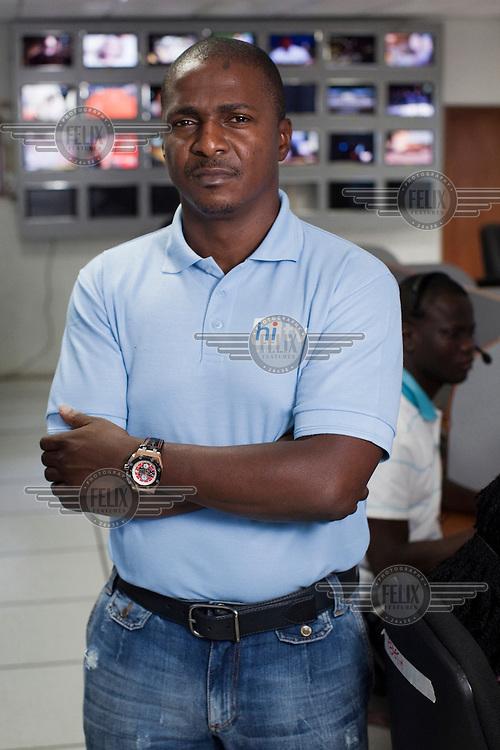 Toyin Subair, CEO of Nigerian satellite television provider Hi TV at the company's customer service call centre in Ikeja.