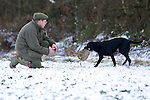 Pix: Shaun Flannery/shaunflanneryphotography.com...COPYRIGHT PICTURE>>SHAUN FLANNERY>01302-570814>>07778315553>>..19th December 2009................Brodsworth Shoot..A black Labrador retrieves a bird to gun.