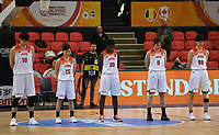 20200206 – OOSTENDE ,  BELGIUM : Japanese Ramu Tokashiki (10), Japanese Nako Motohashi (15), Japanese Evelyn Mawuli (30), Japanese Moeko Nagaoka (0) and Japanese Himawari Akaho (88) pictured in a minute of silence before a basketball game between the national teams of Japan and Sweden on the first matchday of the FIBA Women's Qualifying Tournament 2020 , on Thursday 6  th February 2020 at the Versluys Dome in Oostende  , Belgium  .  PHOTO SPORTPIX.BE | DAVID CATRY