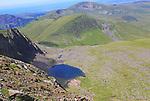 Llyn Glas corrie lake, landscape from Mount Snowdon, Gwynedd, Snowdonia, north Wales, UK