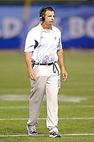 20 December 2011:  FIU Football Head Coach Mario Cristobal paces the sidelines during an official review in the fourth quarter as the Marshall University Thundering Herd defeated the FIU Golden Panthers, 20-10, to win the Beef 'O'Brady's St. Petersburg Bowl at Tropicana Field in St. Petersburg, Florida.