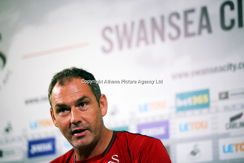 Manager Paul Clement speaks to reporters during the Swansea City Press Conference at The Fairwood Training Ground, Swansea, Wales, UK. Thursday 07 September 2017