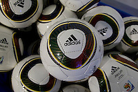 Adidas soccer balls wait to be used before a US Soccer Foundation clinic attended by First Lady Michelle Obama held at City Center in Washington, DC.