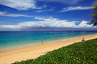 Beautiful day at North Beach, Ka'anapali, Maui. In the distance is Moloka'i.