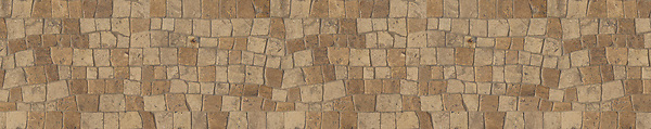"8"" Bark border, a hand-chopped stone mosaic, shown in tumbled Travertine Noce and Jura Grey."