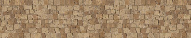 "8"" Bark border, a hand-chopped stone mosaic, shown in tumbled Travertine Noce and Jura Grey."