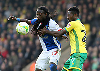 Blackburn Rovers' Marvin Emnes battles with Norwich City's Alexander Tettey<br /> <br /> Photographer David Shipman/CameraSport<br /> <br /> The EFL Sky Bet Championship - Norwich City v Blackburn Rovers - Saturday 11th March 2017 - Carrow Road - Norwich<br /> <br /> World Copyright &copy; 2017 CameraSport. All rights reserved. 43 Linden Ave. Countesthorpe. Leicester. England. LE8 5PG - Tel: +44 (0) 116 277 4147 - admin@camerasport.com - www.camerasport.com