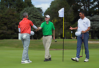 Gareth Paddison (left), Richard Lee and Mako Thomspon (right). Day one of the Jennian Homes Charles Tour / Brian Green Property Group New Zealand Super 6's at Manawatu Golf Club in Palmerston North, New Zealand on Thursday, 5 March 2020. Photo: Dave Lintott / lintottphoto.co.nz